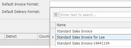 Default Invoice Format:  Default Delivery Format:  District  Coun  8] Enter text to search...  Name  Standard Sales Invoice  Standard Sales Invoice for Lee  Standard Sales Invoice-19441104