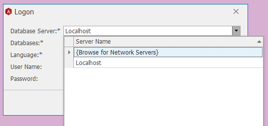 O Logon  Database  Databases:  Language:•  User Name:  Password:  Loa host  Server Name  {Browse for Network Servers}  Localhost