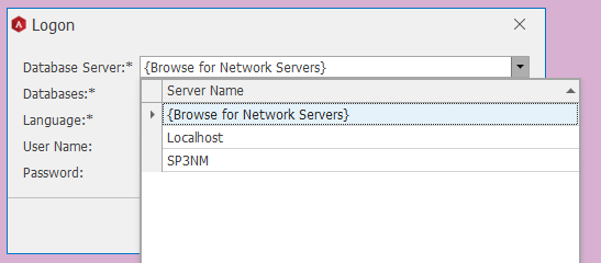 O Logon  Database  Databases: *  Language: *  User Name:  Password:  {Browse for Network Servers}  Server Name  {Browse for Network Servers}  Localhost  SP3NM